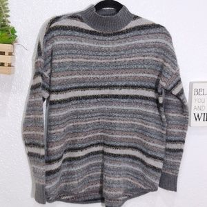 American Eagle wool striped mock neck sweater S
